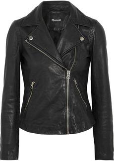 Washed-leather biker jacket