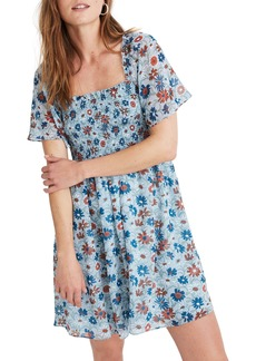 Madewell Wildflower Garden Smocked Flutter Sleeve Dress