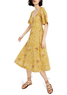 Madewell Windowbox Floral Flutter Sleeve Midi Dress
