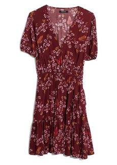 Madewell Windowbox Floral Ruffle Faux Wrap Dress
