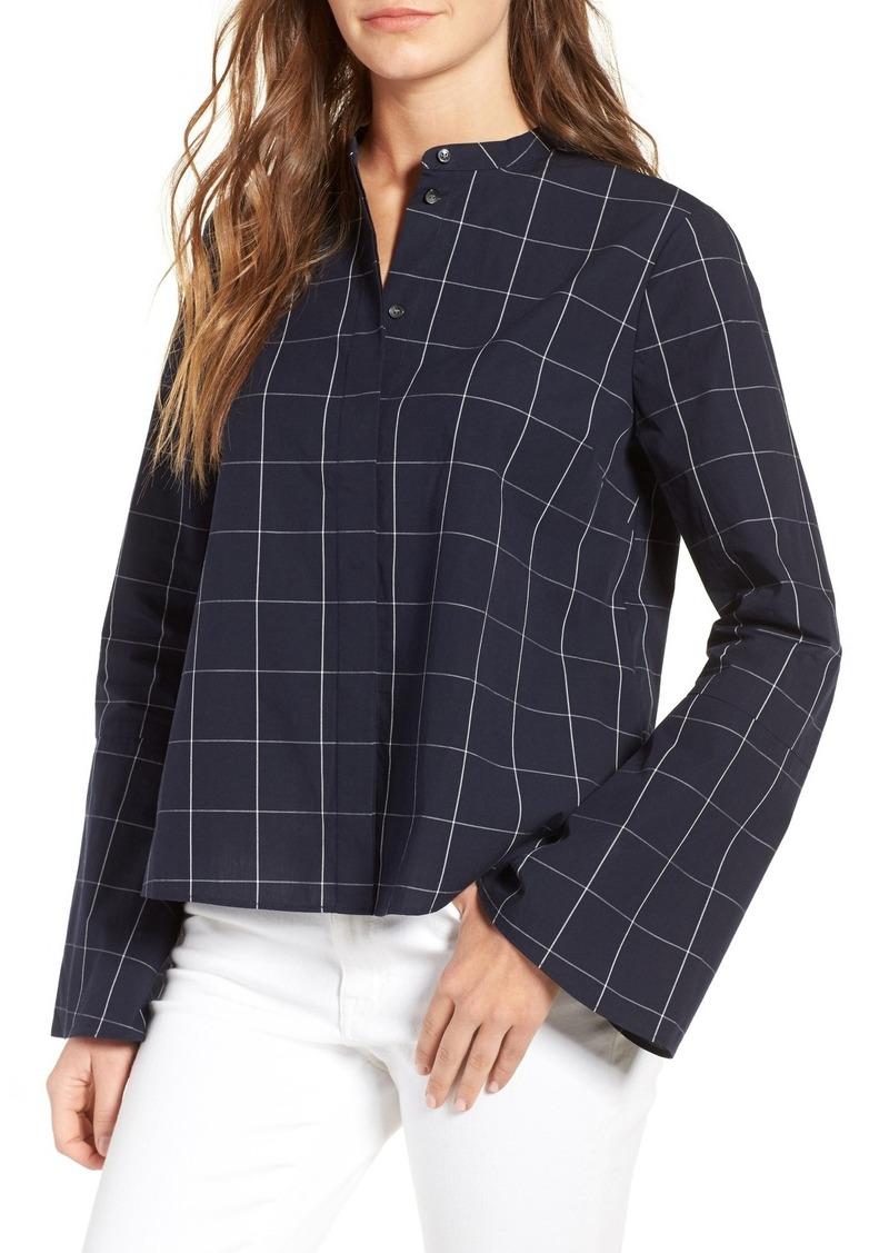 Madewell madewell windowpane bell sleeve shirt casual for Bell bottom sleeve shirt