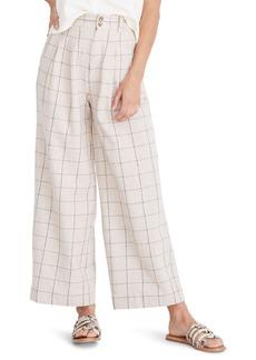 Madewell Windowpane Pleated Wide Leg Pants