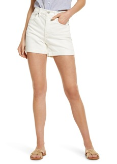 Madewell Women's Distressed High Waist Denin Shorts (Tile White)