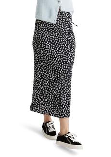 Madewell Woodcut Flowers Drawstring Midi Slip Skirt