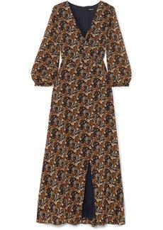 Wrap-effect floral-print georgette maxi dress