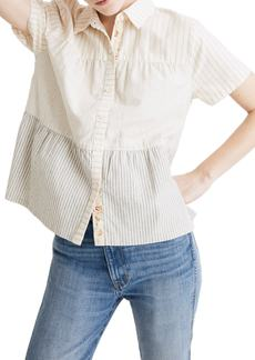Madewell x The New Denim Project® Stripe Mix Seamed Button Down Shirt