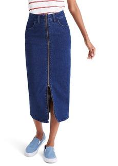 Madewell Zip Front Denim Midi Skirt