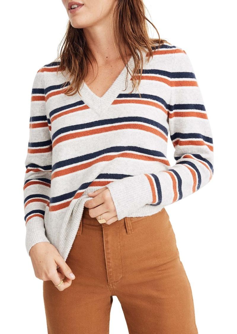 Madewell Stripe V-Neck Sweater