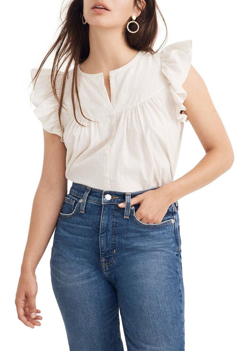 Madewell Metallic Stripe Ruffle Sleeve Bib Top (Regular & Plus Size)