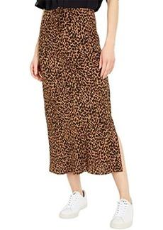 Madewell Drawstring Midi Slip Skirt in Brushed Leopard
