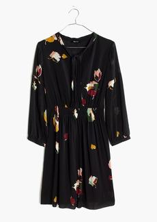Painted Floral Tie-neck Dress