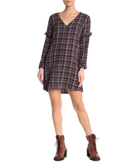 Madewell Plaid Ruffle Shirt Dress
