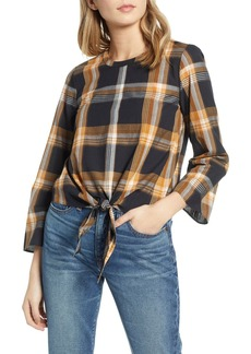 Madewell Plaid Tie Front Keyhole Top