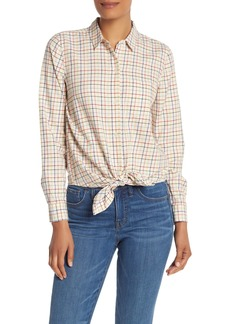 Madewell Rainbow Plaid Tie Front Button Down Shirt