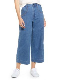 Madewell Rainbow Stitched Emmett Wide Leg Crop Jeans