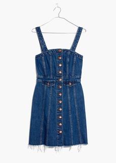 Raw-Edge Denim Button-Front Dress