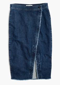 Madewell Raw-Hem Denim Midi Skirt