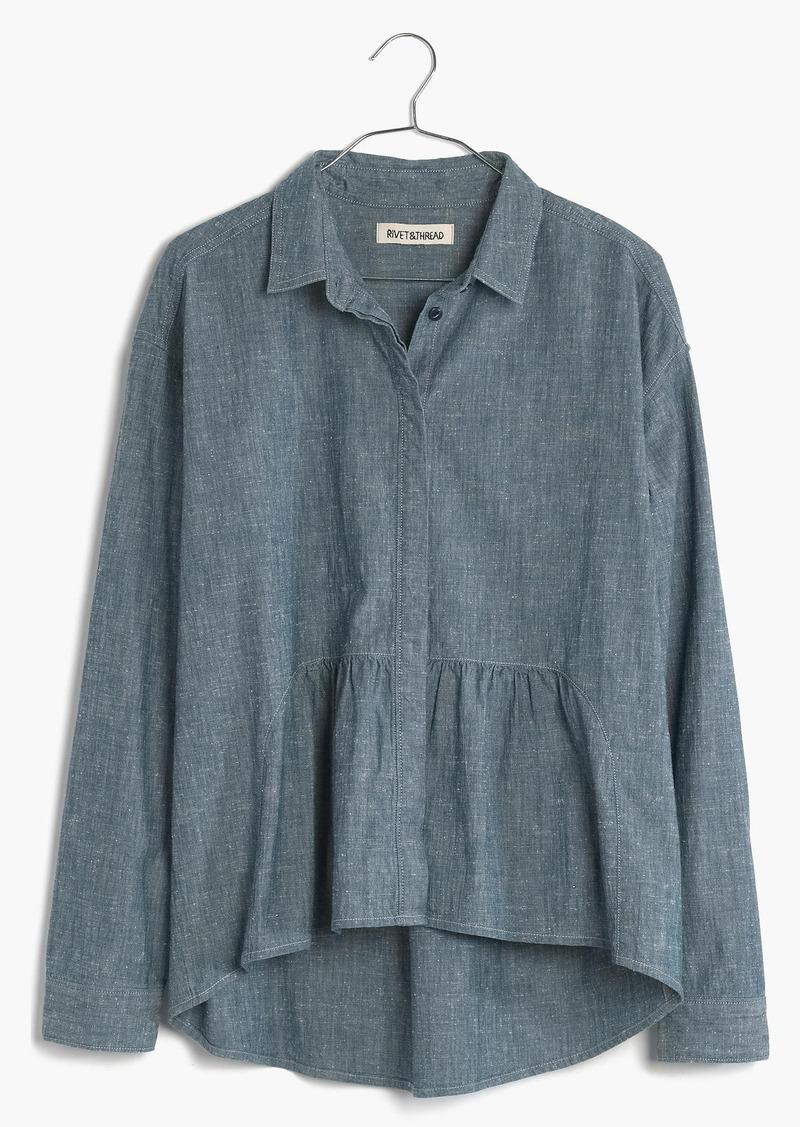 Madewell Rivet & Thread Denim Ruffle Shirt