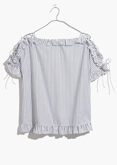 Ruffled Lace-Up Top in Stripe