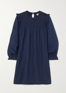 Madewell Ruffled Smocked Denim Mini Dress