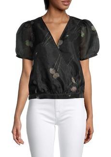 Madewell Sanna Floral Silk-Organza Wrap Top