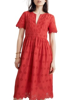 Madewell Scallop Eyelet Dress (Regular & Plus)