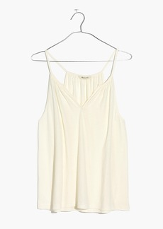 Shirred Split-Neck Tank Top