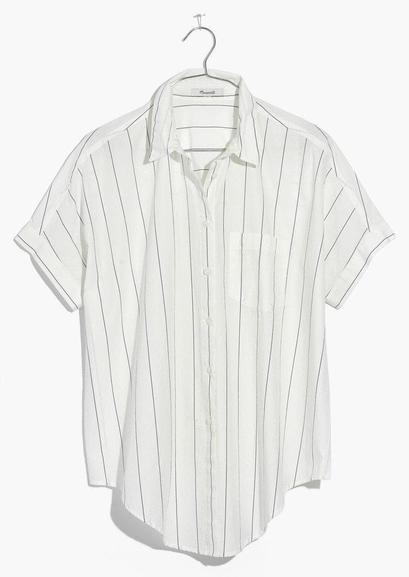 41bbad08e4 On Sale today! Madewell Short-Sleeve Tie-Front Shirt in Abbi Stripe