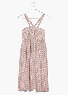 Silk Convertible Halter Dress in Echo Grid