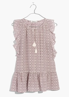 Madewell Silk Lily Ruffle Top in Echo Grid