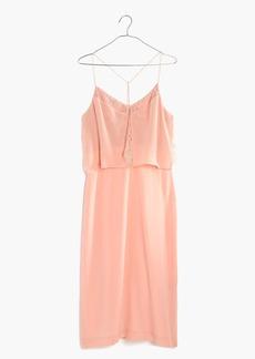 Madewell Silk Lowlight Lace-Inset Midi Dress