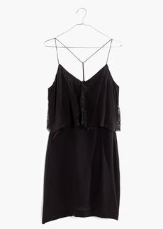 Madewell Silk Lowlight Lace-Inset Mini Dress