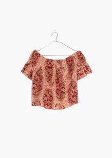 Silk Off-the-Shoulder Top in Watercolor Paisley