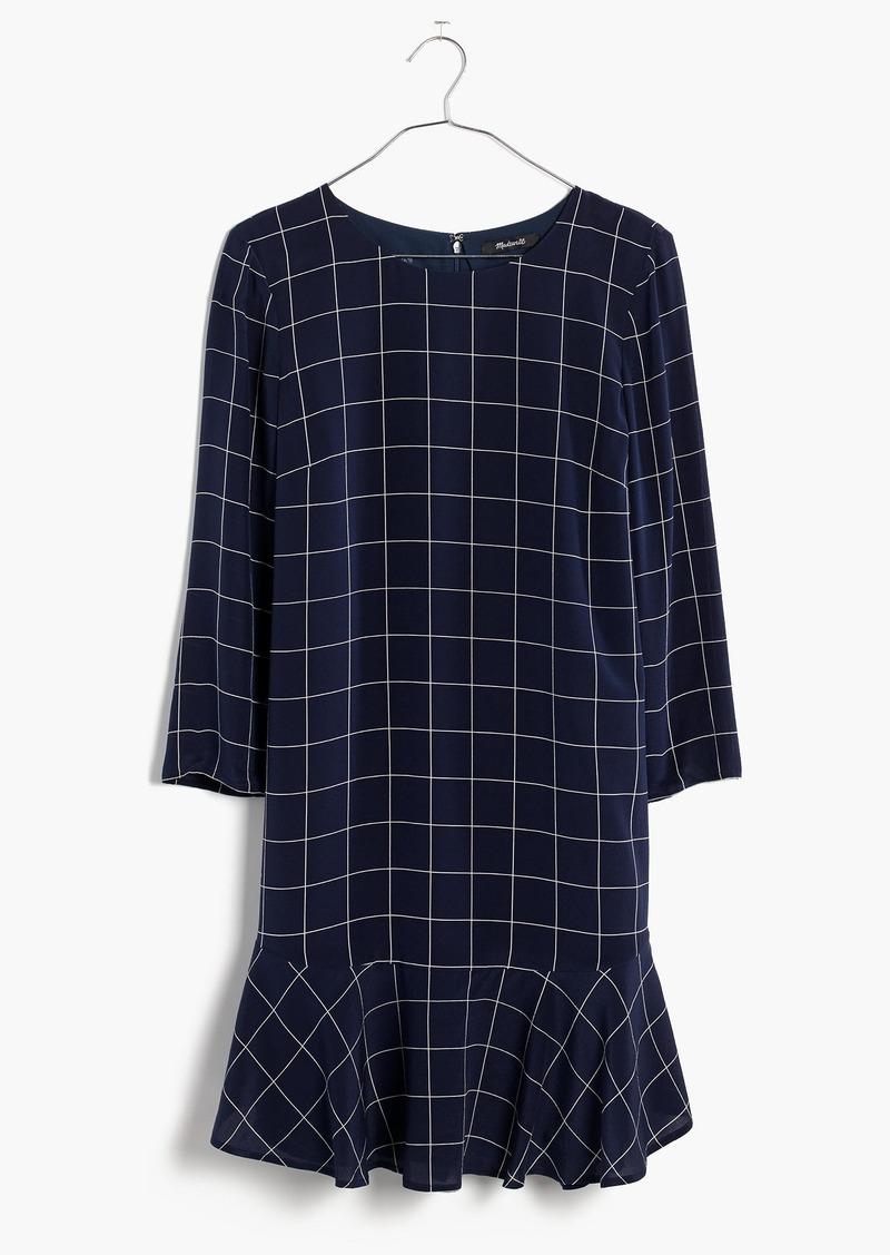 Madewell Silk Ruffle-Hem Dress in Windowpane