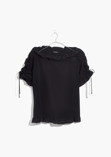 Madewell Silk Ruffled Lace-Up Top