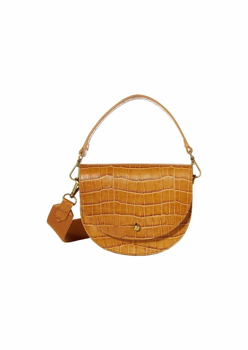 Madewell Small Slim Saddle Bag in Croco