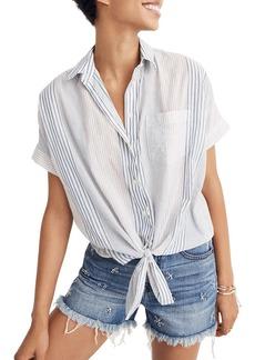 Madewell Stripe Tie Front Short Sleeve Shirt