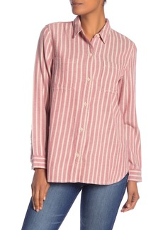 Madewell Striped Classic Flannel Hi-Lo Shirt