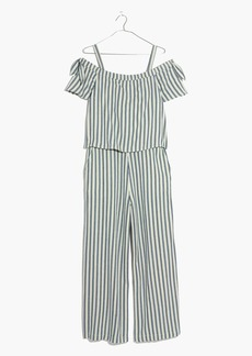 Madewell Striped Cold-Shoulder Jumpsuit