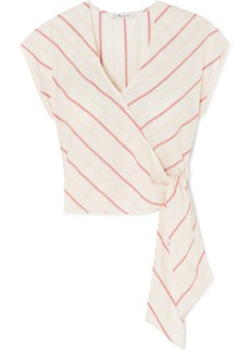 Madewell Striped Cotton-voile Wrap Top