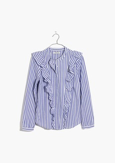 Madewell Striped Ruffle-Front Blouse