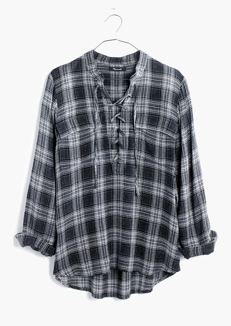 Madewell Terrace Lace-Up Shirt in Owens Plaid
