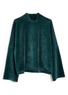 Madewell Texture & Thread Velour Corduroy Mock Neck Top