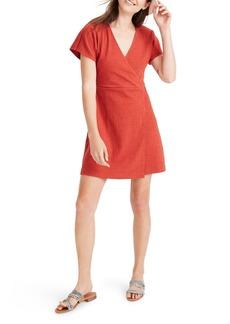 Madewell Textured Thread Short Sleeve Wrap Mini Dress
