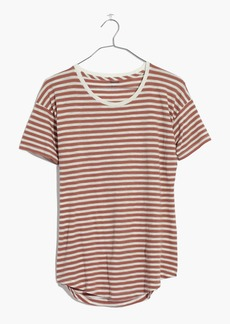 Whisper Cotton Crewneck Tee in Quincy Stripe