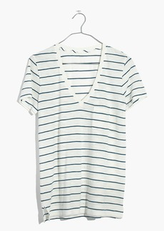 Whisper Cotton V-Neck Pocket Tee in Jarvis Stripe