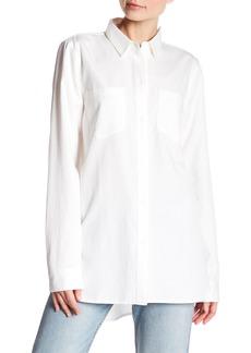 Madewell White Long Sleeve Boyfriend Top