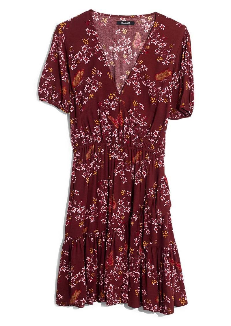Madewell Windowbox Floral Ruffle Faux Wrap Dress