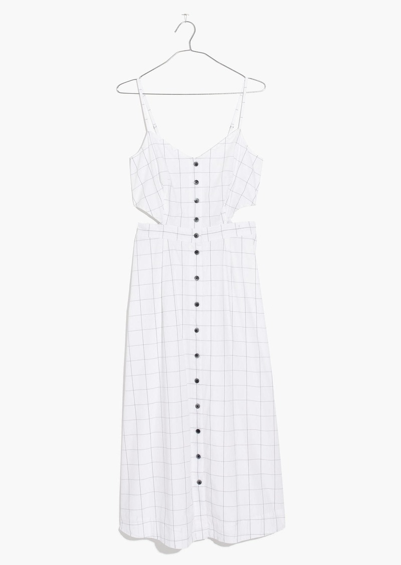 5435c77c259 Madewell Windowpane Cutout Cami Midi Dress
