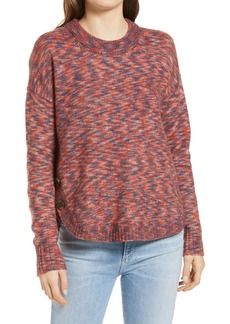 Women's Madewell Space Dye Side Button Crewneck Sweater